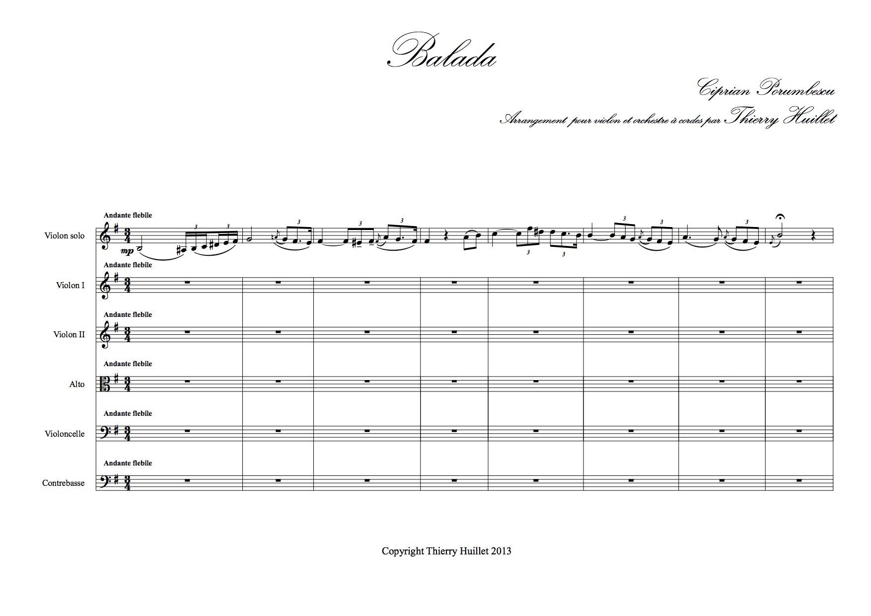 Thierryhuillet Baladaviolinstringorchestrawithorwithoutflute Scoreparts2