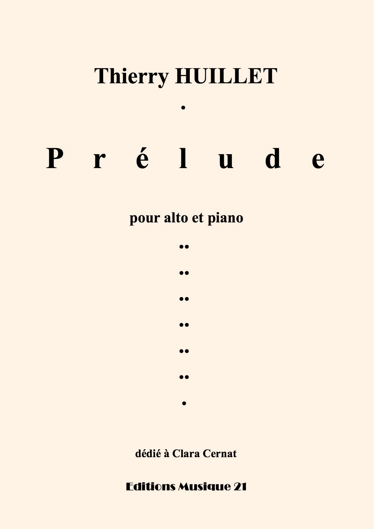 Thierry HUILLET – Prelude, For Viola And Piano (or Organ)