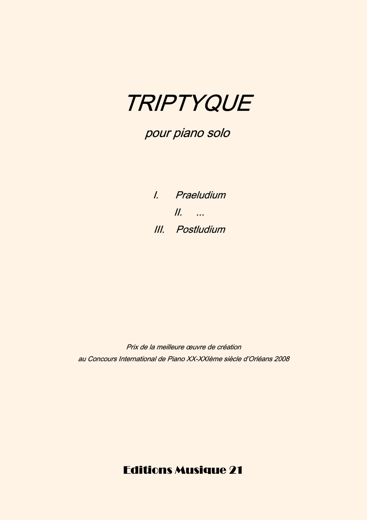 Thierry HUILLET – Triptyque, For Solo Piano